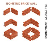 red brick walls of the house ... | Shutterstock .eps vector #667061743