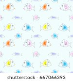 colorful funny fish seamless... | Shutterstock .eps vector #667066393