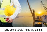 engineering man standing with... | Shutterstock . vector #667071883