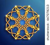 islamic 3d glowing ornament ... | Shutterstock .eps vector #667078213