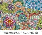 vector patchwork pattern.... | Shutterstock .eps vector #667078243