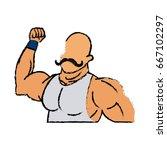 circus strong man mustache... | Shutterstock .eps vector #667102297
