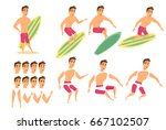 surfer man character animation  ... | Shutterstock .eps vector #667102507