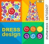 template white summer dress...   Shutterstock .eps vector #667102627