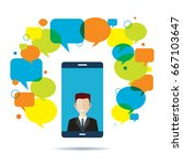 smart phone with businessman on ... | Shutterstock .eps vector #667103647