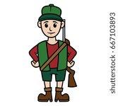 cartoon hunter vector... | Shutterstock .eps vector #667103893