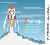 rocket creative start up at day ... | Shutterstock .eps vector #667110277