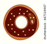 delicious doughnut on white... | Shutterstock .eps vector #667114447