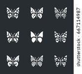 vector set of butterfly icons. | Shutterstock .eps vector #667114987