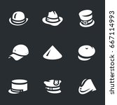 vector set of hats icons. | Shutterstock .eps vector #667114993