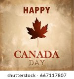 happy canada day retro card in... | Shutterstock .eps vector #667117807