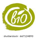 bio product hand drawn label... | Shutterstock .eps vector #667124893