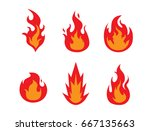 silhouette of vector fire icons ... | Shutterstock .eps vector #667135663