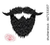 hairy curly hipster strong... | Shutterstock . vector #667153357
