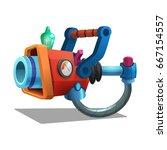 cartoon retro space blaster ... | Shutterstock .eps vector #667154557