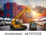 forklift handling container box ... | Shutterstock . vector #667157233