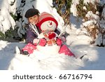 girl with snowman | Shutterstock . vector #66716794