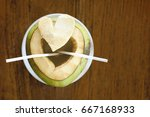 young healthy cutted coconut...   Shutterstock . vector #667168933