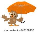 owl bird holds open umbrella.... | Shutterstock .eps vector #667180153