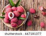 fresh organic lychee fruit on... | Shutterstock . vector #667181377
