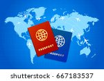 couple bright passports on... | Shutterstock .eps vector #667183537