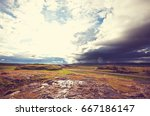 rough arctic terrain of iceland | Shutterstock . vector #667186147