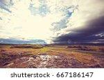 rough arctic terrain of iceland | Shutterstock . vector #667186147