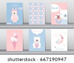 set of cute animals poster... | Shutterstock .eps vector #667190947