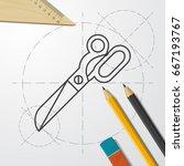 vector blueprint tailor... | Shutterstock .eps vector #667193767