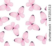 Stock photo watercolor butterfly seamless pattern on white background 667201513