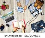 summer beach fun vacation... | Shutterstock . vector #667209613