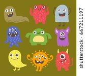 funny cartoon monster cute... | Shutterstock .eps vector #667211197