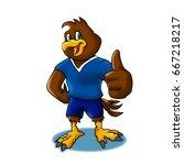 hawk mascot happy | Shutterstock . vector #667218217
