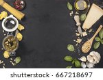 ingredients for italian pesto... | Shutterstock . vector #667218697