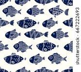 cute fish. vector seamless...   Shutterstock .eps vector #667222693