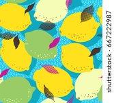 lemon citrus fruits seamless... | Shutterstock .eps vector #667222987