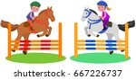 boy and girl jumping with... | Shutterstock .eps vector #667226737