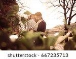 happy couple enjoying in the... | Shutterstock . vector #667235713