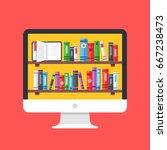bookshelves with books on... | Shutterstock .eps vector #667238473
