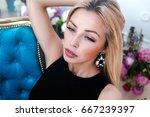 close up fashion portrait of... | Shutterstock . vector #667239397