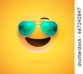 realistic yellow happy smiley... | Shutterstock .eps vector #667242847