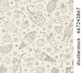 seamless pattern with hand... | Shutterstock .eps vector #667243867