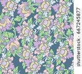 seamless flower pattern. floral ... | Shutterstock .eps vector #667245877