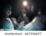 group of surgeons working on a... | Shutterstock . vector #667246657