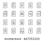 document management line icons. ... | Shutterstock .eps vector #667251223