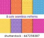 set of cute bright patterns.... | Shutterstock .eps vector #667258387
