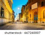 riga  latvia. evening view of... | Shutterstock . vector #667260007