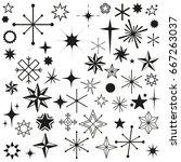 vector stars sparkles black set ... | Shutterstock .eps vector #667263037