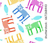 white seamless pattern with... | Shutterstock .eps vector #667268443