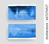 set of vector business card... | Shutterstock .eps vector #667270417